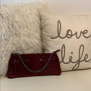 NWOT Deep Red Leather Latico Clutch